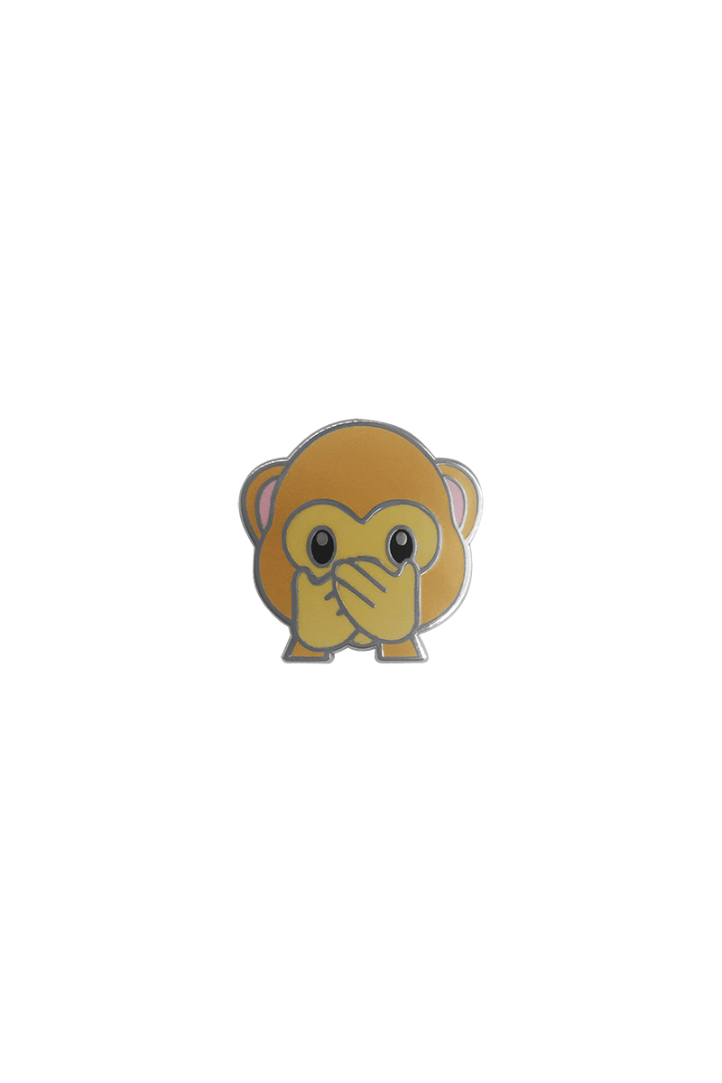 Speak No Evil Monkey Emoji Lapel Pin - Philistine