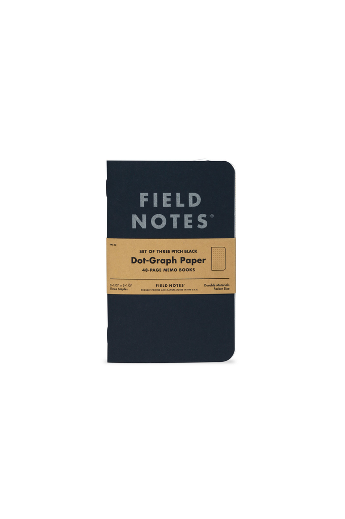 Field Notes Pitch Black Memo Book Dot Graph 3 Pack