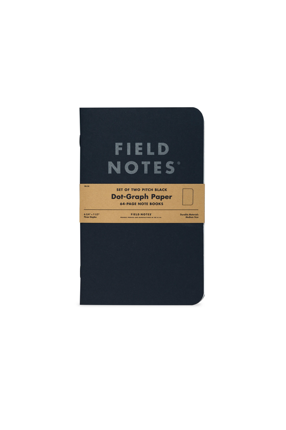 Field Notes Pitch Black Notebook Dot Graph 2 Pack