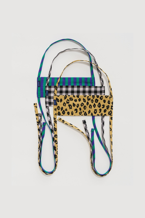 Fabric Mask Set Tie in Gingham, Leopard & Stripe