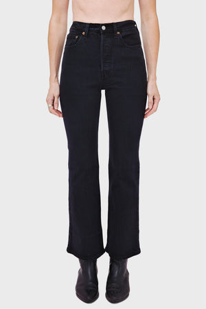 Women's Levi's Ribcage Boot Cut Jean in Black Bayou