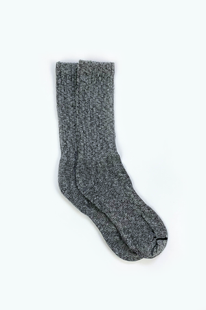 Overdyed Cotton Ragg Crew Sock in Black/Grey - Philistine