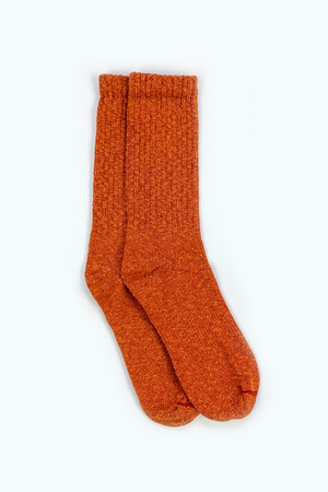 Overdyed Cotton Ragg Crew Sock in Rust - Philistine