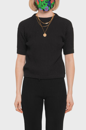 Women's Rue Stiic Pamela Knit Tee in Black