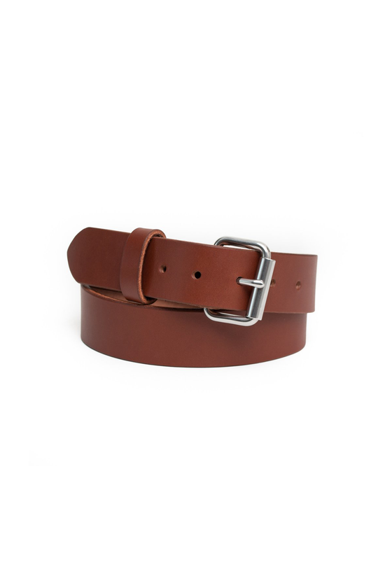 Made in Canada Chestnut Brown Leather Belt by Apogee Goods