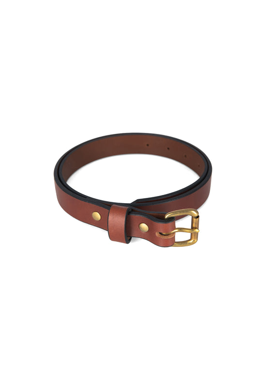 Apogee Leather Unisex Slim Belt in Chestnut