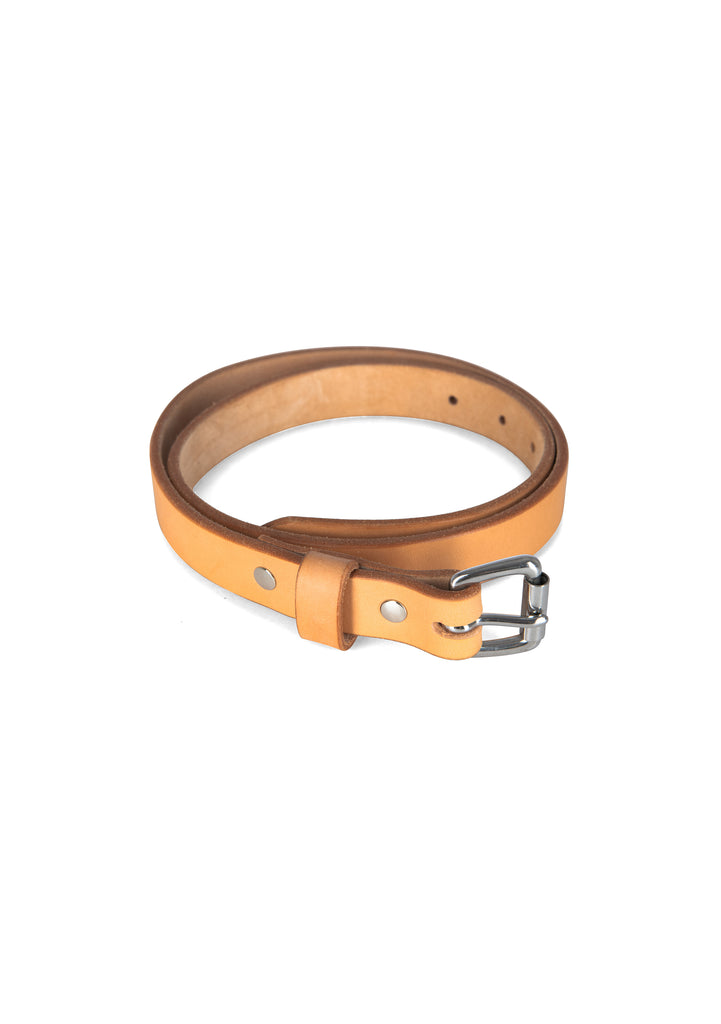 Apogee Leather Unisex Slim Belt in Natural