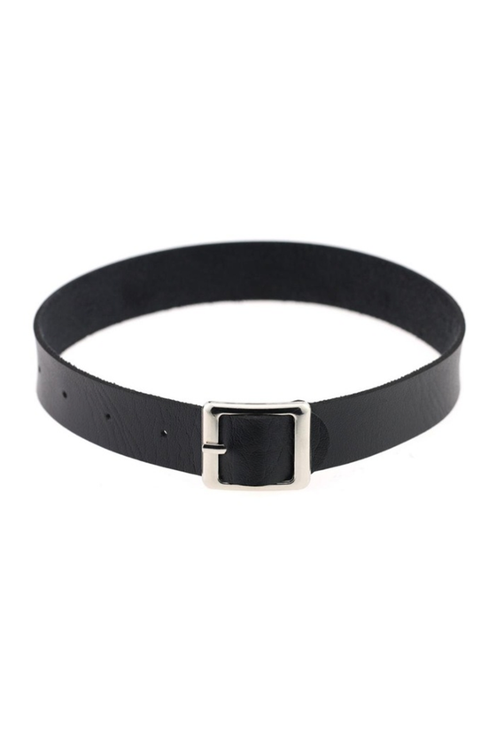 Leatherette Buckle Choker