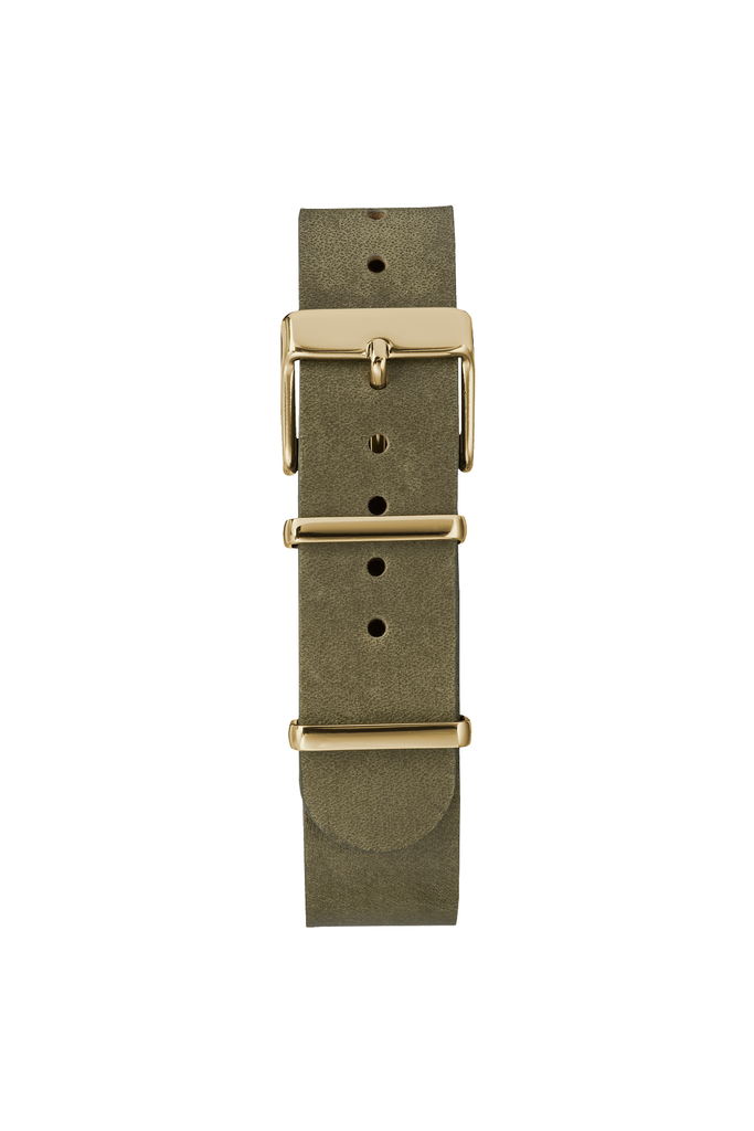 37mm Fairfield Leather Weekender in Olive/Gold - Philistine