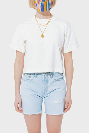 Women's Richer Poorer Relaxed S/S Crop Tee in Bone