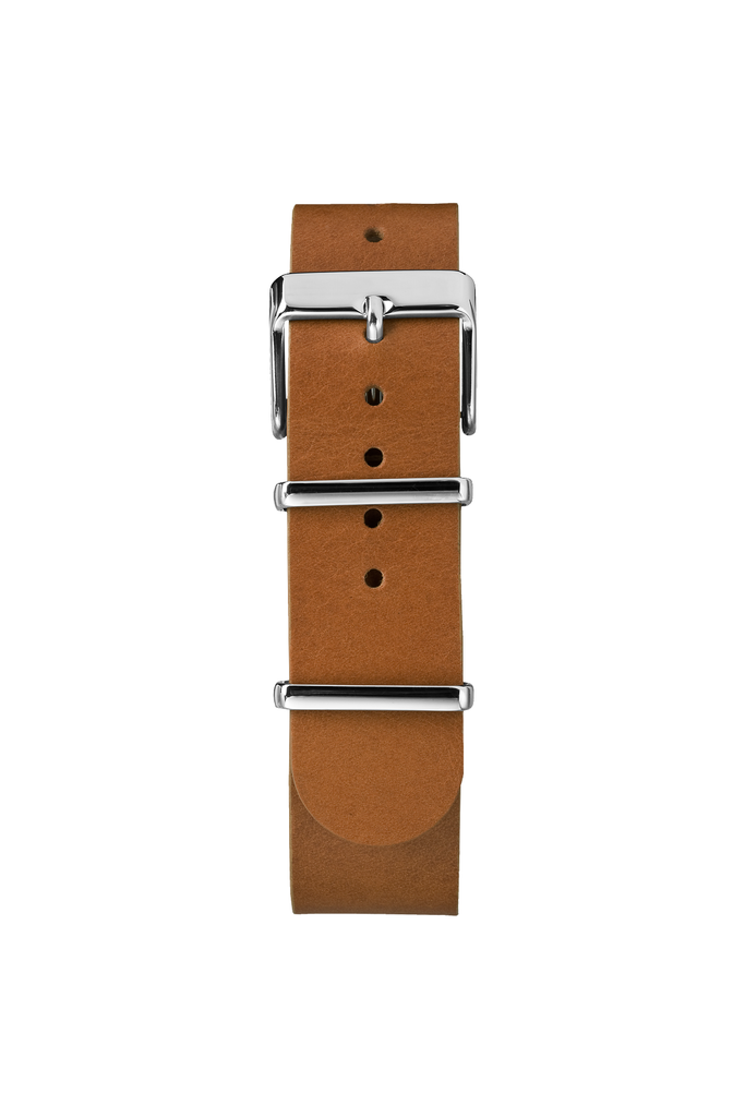 41mm Fairfield Leather Weekender in Tan/Silver - Philistine