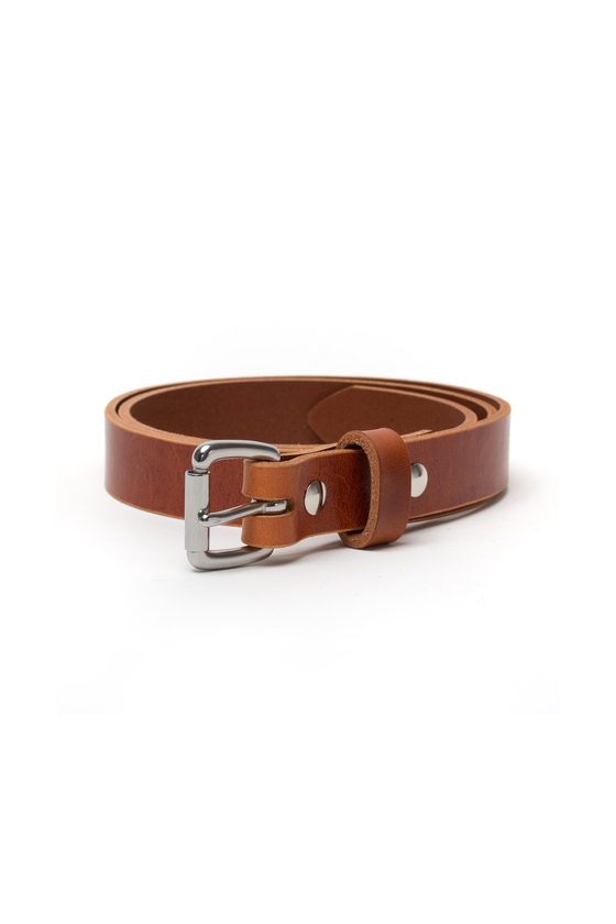 Slim Belt in Whiskey Leather