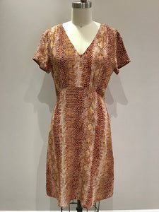 Riblan Dress in Craie Reptile Print