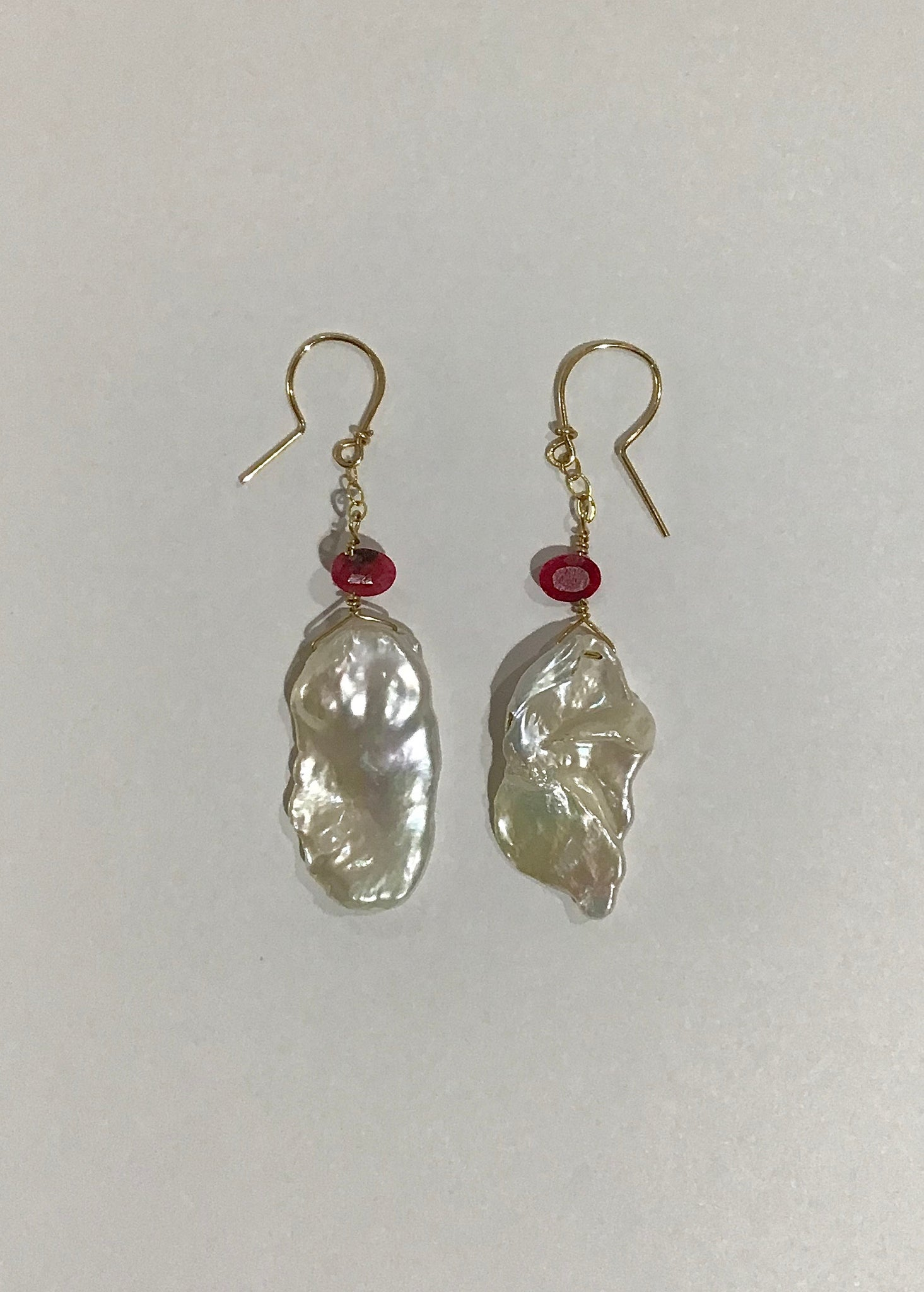 Freshwater Pearl & Ruby Earrings