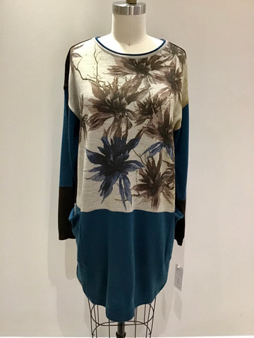 Colorblock Knit Tunic with Floral Print