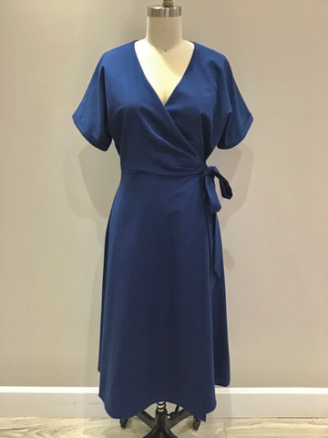 Jenna Wrap Dress in Ink Blue