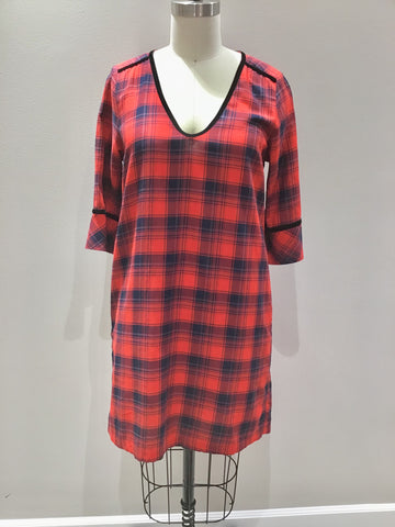 Short Red and Blue Plaid Dress