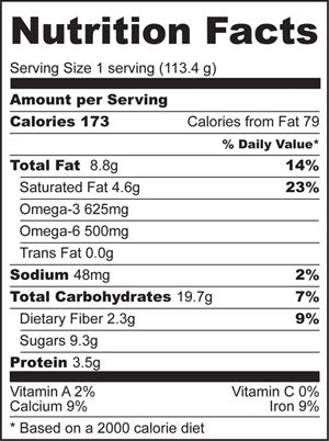 Nutrition Facts for Apple Pie Overnight Oats