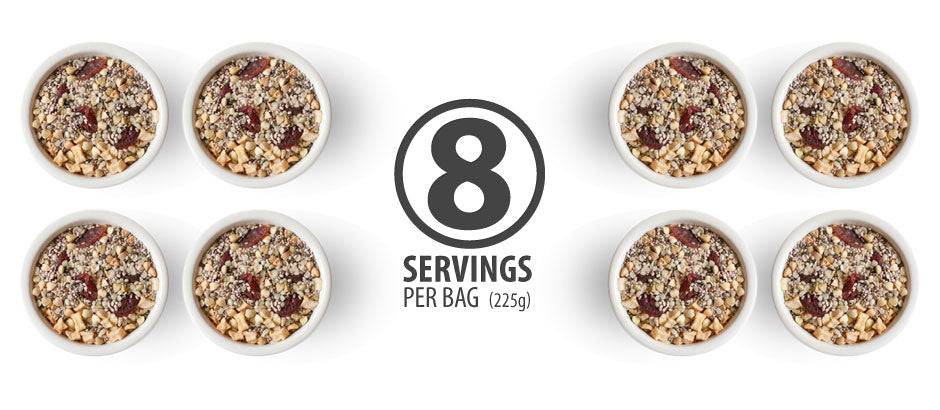 There are 8 servings in an 8 oz bag of Holy Crap cereal