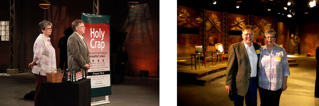 Brian and Corin Mullins pitching Holy Crap on the Dragons Den set