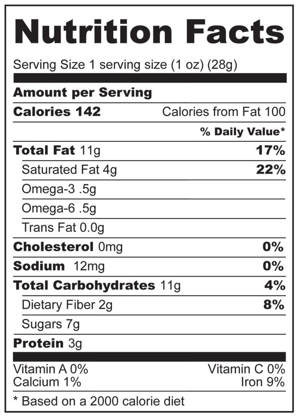 Nutrition Facts for Holy Crap Dark Chocolate Bark