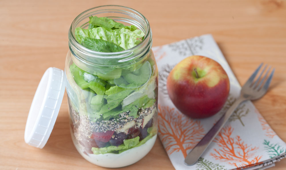 Romain lettuce salad in a jar recipe