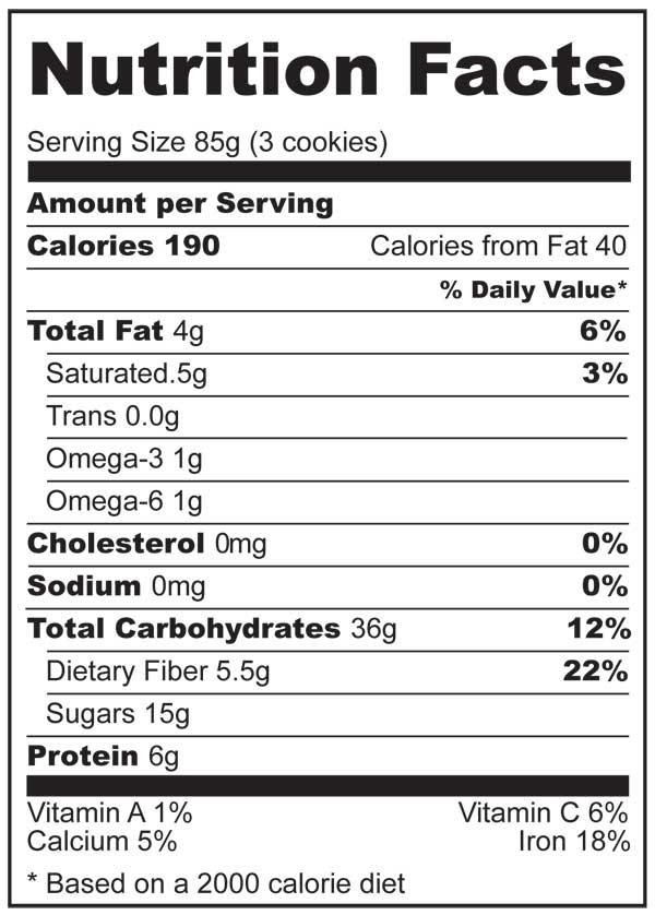 Nutrition Facts for 2-ingredient Plus Gluten Free Oats Breakfast Cookies