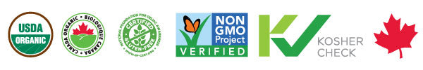 Organic, Non-GMO, Gluten Free and Kosher Certification seals for Holy Crap cereal