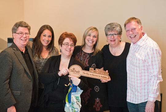 CBC Dragons' Den producers with the Mayor John Henderson and Brian and Corin Mullins