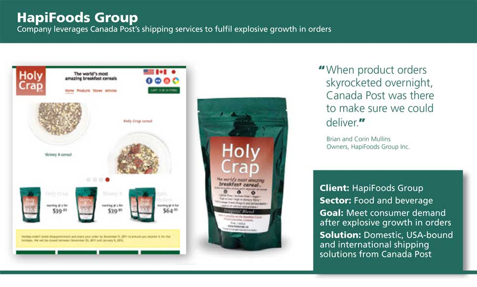 Canada Post case study for Holy Crap cereal