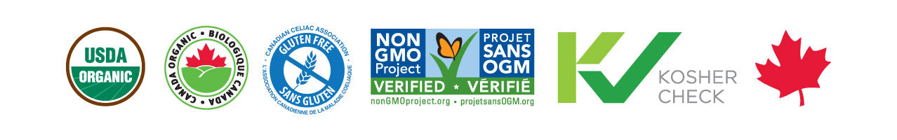 Non-GMO Verified certification seal with organic seal, Kosher seal, and Gluten Free Seal