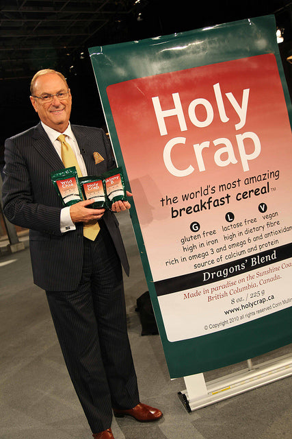 Jim Treliving with Holy Crap cereal on Dragons Den