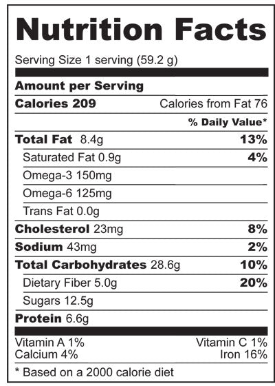Nutrition Facts for Fruit n Nut Bars with Holy Crap Cereal