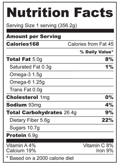 Nutrition Facts for Blueberry Swirl Smoothie