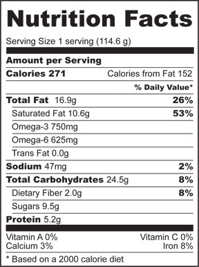 Nutrition Facts for Coconut Rice Pudding