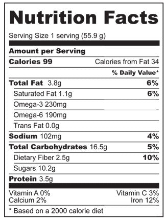 Nutrition Facts for dense chocolate cake recipe