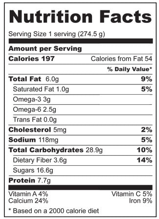 Nutrition Facts for Smooth-Move Smoothie