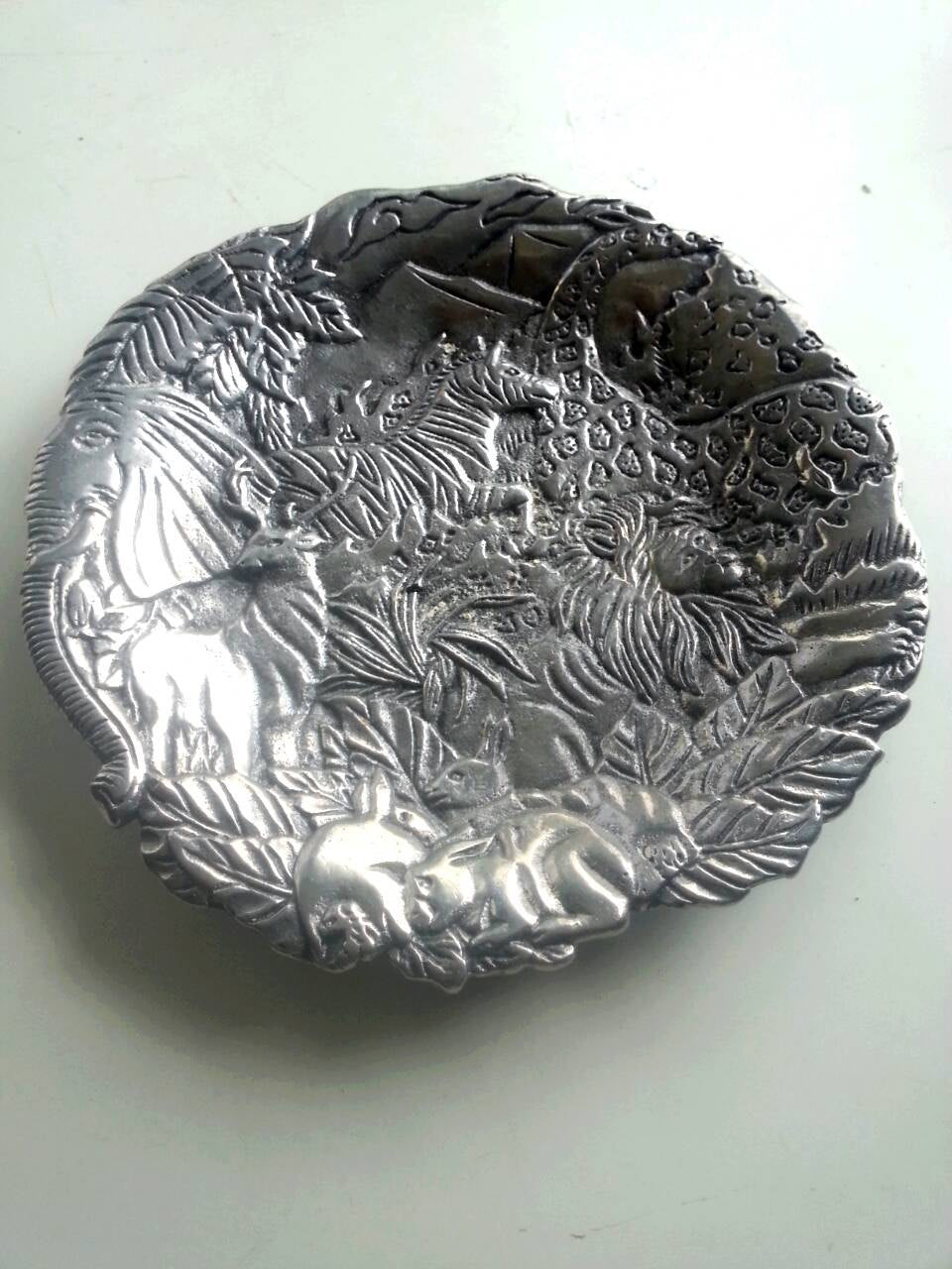 Pewter Animal themed Embossed Salad Plate