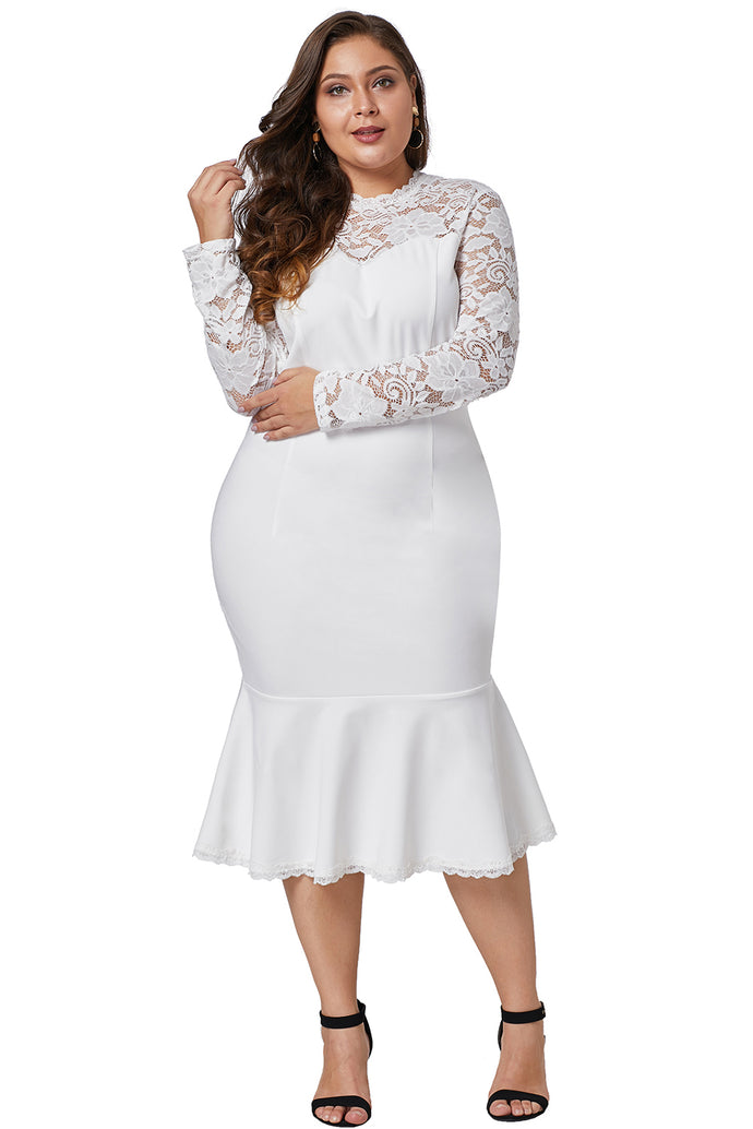 White Lace Panel Peplum Hem Sheath Dress