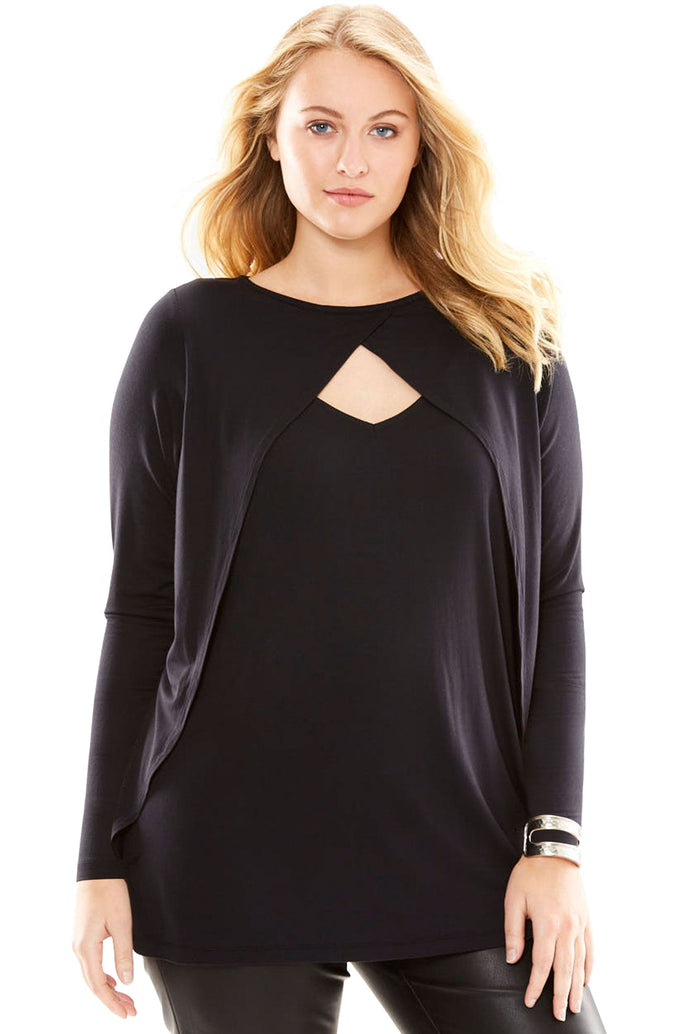 Black Long Sleeve Keyhole Drape Plus Size Top