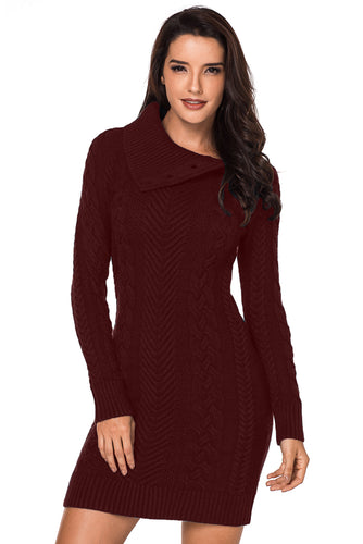 Asymmetric Buttoned Collar Burgundy Bodycon Sweater Dress