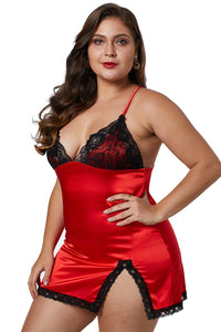 Red Plus Size Satin Chemise with Lace