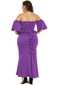 Purple Sexy Strapless Drop Shoulder Dress with Ruffles