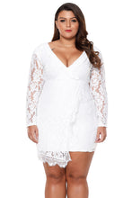 Load image into Gallery viewer, White Plus Size Lace Faux Wrap Ruffle Dress