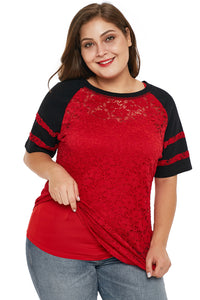 Red Lace Panel Raglan Sleeve Plus Size T-shirt