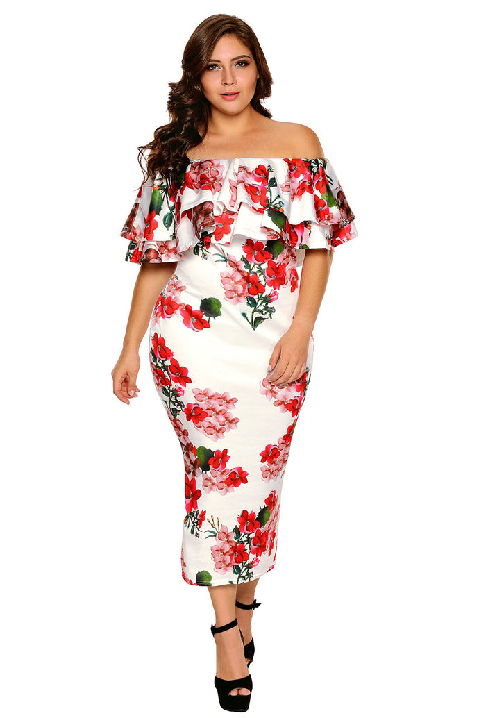 Floral Ruffle Off Shoulder Curvaceous Dress