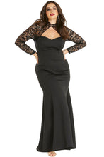 Load image into Gallery viewer, Black Sheer Lace Long Sleeve Plus Size Party Dress