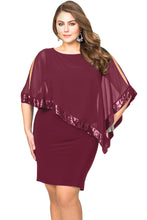 Load image into Gallery viewer, Burgundy Sequined Mesh Overlay Plus Size Poncho Dress