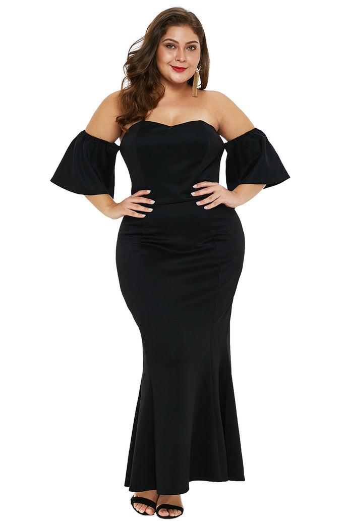Black Sexy Strapless Drop Shoulder Plus Size Maxi Dress with Ruffles