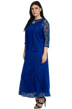Load image into Gallery viewer, Blue Nadia Plus Size Lace Dress